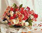 [Holzrahmen] DIY ölgemälde, Malen nach Zahlen Kits- blühende Blumen 16*20 inch