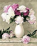 [Holzrahmen ] Malen nach Zahlen Neuerscheinungen Neuheiten - DIY Gemälde durch Zahlen, Malen nach Zahlen Kits-Blühende Blumen 16x20 inch