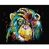 Malen nach Zahlen Kits DIY Leinwand Ölgemälde für Kinder, Studenten, Erwachsene Anfänger - Bunte Monkey16x20 Zoll mit Pinsel und Acrylpigment, Ohne Rahmen
