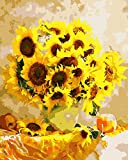 DIY Vorgedruckt Leinwand-Ölgemälde Geschenk für Erwachsene Kinder Malen Nach Zahlen Kits Home Haus Dekor - Gelbe Sonnenblume 40*50 cm