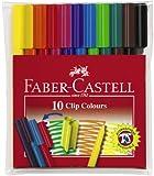 Faber-Castell 155010 - Fasermaler CLIP Colour, 10er Etui