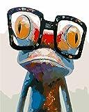 DIY Digital Leinwand-Ölgemälde Geschenk für Erwachsene Kinder Malen Nach Zahlen Kits Home Haus Dekor - Frosch 40*50 cm