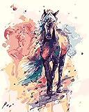 [Holzrahmen ] Malen nach Zahlen Neuerscheinungen Neuheiten - DIY Gemälde durch Zahlen, Malen nach Zahlen Kits-Gemaltes Pferd 16x20 inch