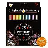 Buntstifte für Erwachsene und Kinder auf Ölbasis - Langlebige und kräftige Farben - Bruchfest - 48 Farben