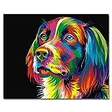 Rahmenlos, Malen nach Zahlen DIY Ölgemälde Bunte Hund Leinwand drucken Wand Kunst Home Decoration von Rihe