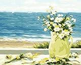 Fuumuui DIY Vorgedruckt Leinwand-Ölgemälde Geschenk für Erwachsene Kinder Malen Nach Zahlen Kits Home Haus Dekor - Gänseblümchen am Meer 40*50 cm
