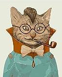 Fuumuui DIY Vorgedruckt Leinwand-Ölgemälde Geschenk für Erwachsene Kinder Malen Nach Zahlen Kits Home Haus Dekor - Herr Cat 40*50 cm