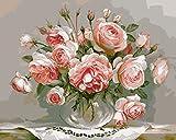 YEESAM ART Neuerscheinungen Malen nach Zahlen für Erwachsene Kinder - Perfekt Blühen Blume 16 * 20 Zoll Leinen Segeltuch - DIY ölgemälde ölfarben Weihnachten Geschenke