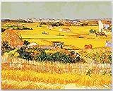 GWYKQ Gerahmt Füllen Sie Farbe Van Gogh Ernte berühmten Gemälde Feld Herbst Weizen Feld im freien Bauernhof Pastoralen Malerei Bereich handgemachte Dekoration Malen nach Zahlen 40X50Cm