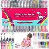 GirlZone Gelstifte Set für Mädchen Set 30 Gelstifte Glitzer mit Etui - Malset Mädchen Zeichnen Gelmalstifte -Schreibset - Gelschreiber Set Gelstifte - Geschenke für Mädchen Kinder