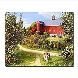 Yangll Malen Nach Zahlen DIY Öl Acryl Auf Leinwand Kits Zeichnung Bauernhof Landschaft Wohnzimmer Dekoration Wand Bilder Kein Rahmen 40X50 cm