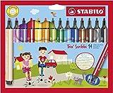Gefederter Dreikant-Filzstift - STABILO Trio Scribbi - 14er Pack - 14 Farben
