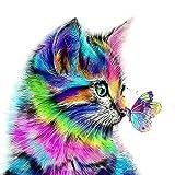 DIY Vorgedruckt Leinwand-Ölgemälde Geschenk für Erwachsene Kinder Malen Nach Zahlen Kits Home Haus Dekor - Katze und Schmetterling 40*50 cm