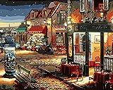 DIY Vorgedruckt Leinwand-Ölgemälde Geschenk für Erwachsene Kinder Malen Nach Zahlen Kits Home Haus Dekor - Kaffee und Blumenladen 40*50 cm