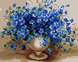 CaptainCrafts New Malen Nach Zahlen 16x20 für Erwachsene, K0inder Leinwand - Charm Blau, Blau Blumen Vase (Frameless)