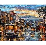 Diy Ölfarbe von Nummer Kit, Malerei Lacke Retro Straßenbahn Wandkunst Bild Zeichnung mit Pinsel 16 * 20 Zoll Weihnachten Dekor Dekorationen Geschenke (ohne Rahmen)
