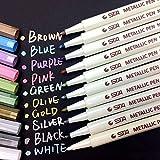 APOGO Metallic Marker Pens, 10 Farben Metallic Stifte für Gästebuch Hochzeit, Fotoalbum Schwarze Seiten, Geschenkbox Explosionsbox, Karten zum Selbstgestalten, Scrapbook Album, Glatte Oberflächen-1mm