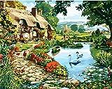 CaptainCrafts Neu Malen Nach Zahlen 16x20 für Erwachsene Anfänger Kinder, Kinder Leinwand - Bauernhof Art, Land Landschaft (mit Rahmen)