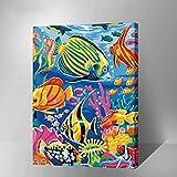 DIY Digital Leinwand-Ölgemälde Geschenk für Erwachsene Kinder Malen Nach Zahlen Kits Mit Holzrahmen Home Haus Dekor - Meereswelt Sea World 15.75 * 19.69 inch