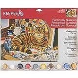 REEVES Malen nach Zahlen für Erwachsene ' Tiere ' 30 x 40cm, 20 Farben, Motiv - Ruhende Katze