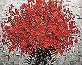 CaptainCrafts Neu Malen Nach Zahlen Kits 16x20 für Erwachsene Anfänger Kinder, Creative DIY digitales Ölgemälde Kinder Leinwand - Blooming Rote Blumen (Frameless)