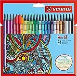 Premium-Filzstift - STABILO Pen 68-24er Pack - mit 24 verschiedenen Farben