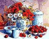 CaptainCrafts New Malen Nach Zahlen 16x20 für Erwachsene, K0inder Leinwand - Weißes Porzellan Rot Obst und Blumen (mit Rahmen)