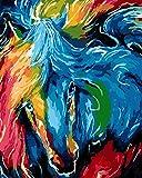 DIY Vorgedruckt Leinwand-Ölgemälde Geschenk für Erwachsene Kinder Malen Nach Zahlen Kits Home Haus Dekor - Abstraktes Pferd  40*50 cm