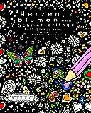 Herzen, Blumen und Schmetterlinge: Anti-Stress Malbuch (Kompliziertes Malen)