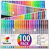 Zenacolor (60 oder 100) Gelschreiber Gelstifte Set mit Etui - Extra großes Set - Einzigartige Farben (keine Duplikate) - mit hochwertiger leicht fließender Tinte - toll für Malbuch für Erwachsene