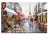 Dreamsy DIY Öl Malen nach Zahlen Kit, Malerei Lacke romantische Eiffelturm Paris Street View Zeichnung mit Pinsel 16 * 20 Zoll Weihnachten Dekor Dekorationen Geschenke (ohne Rahmen)