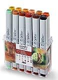 COPIC Classic Marker 12er Set 'Herbst-Farben', professionelle alkoholbasierte Layoutmarker mit einer mittelbreiten und einer feinen Spitze