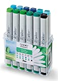COPIC Classic Marker 12er Set 'Umwelt Farben', professionelle alkoholbasierte Layoutmarker mit einer mittelbreiten und einer feinen Spitze