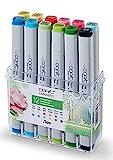 COPIC Classic Marker 12er Set 'Frühlings-Farben', professionelle alkoholbasierte Layoutmarker mit einer mittelbreiten und einer feinen Spitze
