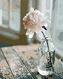 TENOL Malen Nach Zahlen Erwachsene Anfänger Kinder, DIY Ölgemälde auf Leinwand Geschenk Malen Nach Zahlen Kits-Ohne Rahmen- Fenster Blumenmuster