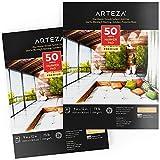 Arteza Marker Papier Zeichenblock, 2er-Pack, 22.86 x 30.48 cm, 50 Blatt, klebegebundenes, glatt beschichtetes Markerpapier, für Alkohol- und Pigmentmarker, zum Zeichnen, Skizzieren, Färben, Lettering