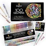 Castle Art Supplies 100 Gel Pen Set mit Etui für Erwachsene Malbücher, Zeichnen, Scrapbooking, Schreiben - Kit Enthält Swirl, Pastell, Metallic, Glitter und Neon Glatte Fine Tip Gels