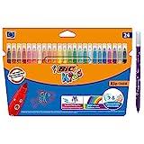 BIC Kids Filzstifte Kid Couleur, zum Malen in 24 auswaschbaren Farben, mit stabiler Spitze, ab 5 Jahre, Ideal für Schultüte, Schulanfang und Einschulung