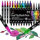 Dual Brush Pen Set, 24 Farben Filzstifte Dicke und Dünne Pinselstifte Für Kinder Erwachsene Bullet Journal Stifte, Handlettering, Manga, Mandala, Malbücher, Pinselspitzen und Fineliner