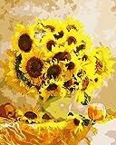Fuumuui DIY Malen Nach Zahlen-Vorgedruckt Leinwand-Ölgemälde Geschenk für Erwachsene Kinder Kits Home Haus Dekor - Gelbe Sonnenblume 40*50 cm