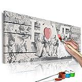 murando - Malen nach Zahlen Home & Engel 120x40 cm Malset mit Holzrahmen auf Leinwand für Erwachsene Kinder Gemälde Handgemalt Kit DIY Geschenk Dekoration n-A-0570-d-a
