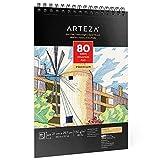 Arteza Zeichenblock A4 (21.0x29.7 cm), spiralgebundenes Skizzenbuch mit 80 Blatt, säurefreies Künstler Zeichenpapier (80lb/130g), Skizzenblock für Kinder & Erwachsene