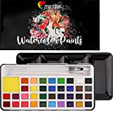 Zenacolor 36 Aquarellfarben-Set - Farben für & Erwachsene mit Pinsel & Aquarell Stifte - Metallic Tuschkasten + Herausnehmbares Tablett - Wasserfarben in Künstlerqualität