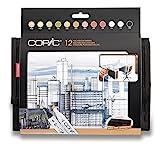 COPIC Classic Marker 12er Set 'Architektur-Farben' im Wallet, professionelle alkoholbasierte Layoutmarker mit einer mittelbreiten und einer feinen Spitze