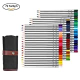 LOETAD Faber Castell Buntstifte Filzstifte Buntstift 72 Farben mit Roll-up Stiftemappe Federtasche