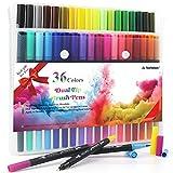 HELESIN Filzstifte, Brush Pen Set, 36 Farben Pinselstifte, Handlettering Stifte, Fineliner Set für Erwachsene und Kinder, Journaling Stifte für für Mandalas, Bullet Journal, Malbücher