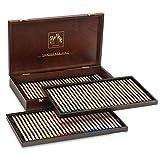 Caran d'Ache Luminance 6901 - Aufbewahrungsbox aus Holz, Sortiment mit 80 Buntstiften - 76 Farben + 4 Doppelfarben, 6901.476
