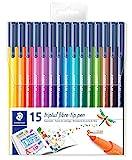 STAEDTLER 323 TB15 Fasermaler Triplus Color circa 1.0 mm, Set mit 15 verschiedenen Farben in Klarfaltbox