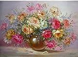 YEESAM ART Neuerscheinungen Malen nach Zahlen für Erwachsene Kinder - Multicolor Bunt Blumen 16 * 20 Zoll Leinen Segeltuch - DIY ölgemälde ölfarben Weihnachten Geschenke