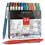 Arteza bunte Gelschreiber, 24er-Pack farbsortierter Gelstifte, 10 vintage & 14 lebhafte Farben, Gelkugelschreiber mit einziehbarer 0.7 mm Spitze, für Journaling, Doodling, Zeichnungen, Notizen